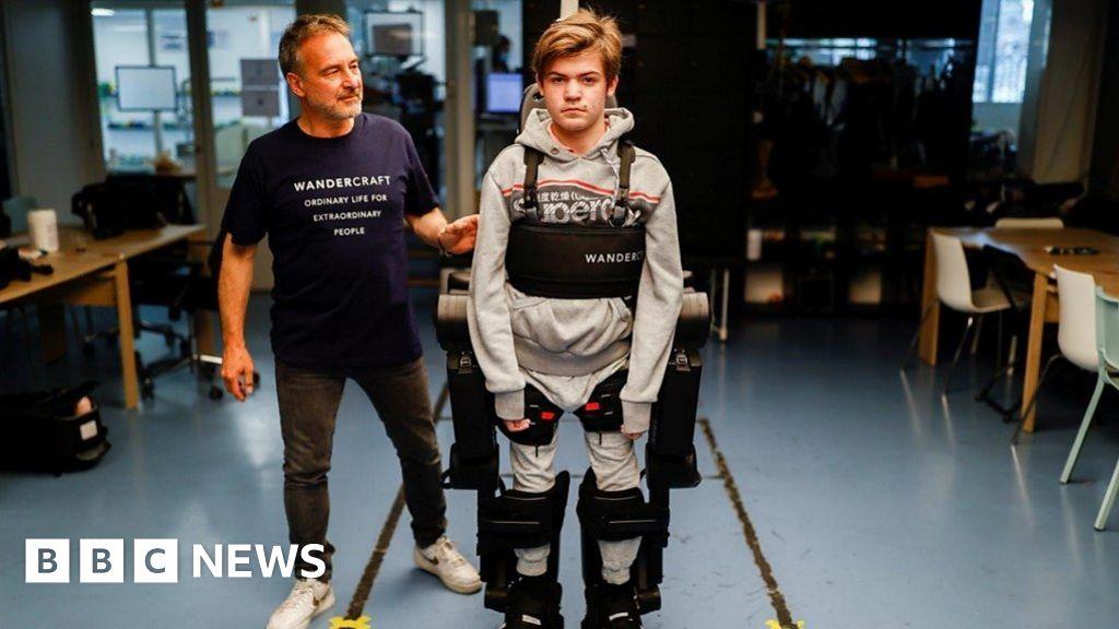 Dad builds robotic 'exo-skeleton' to help son walk
