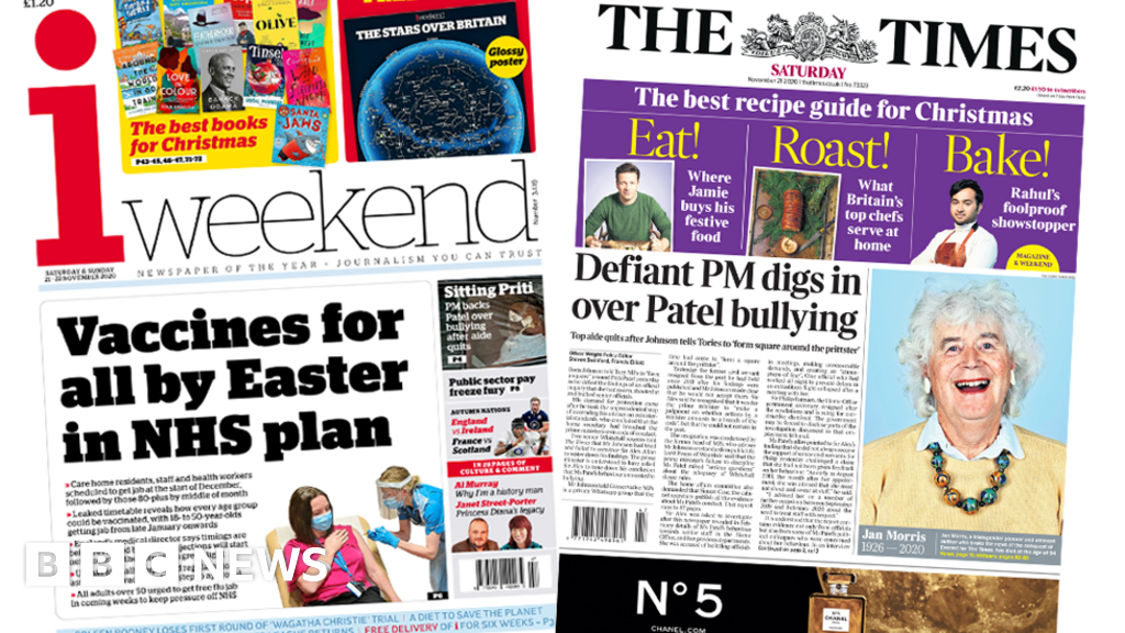Newspaper headlines: 'Vaccines for all', and Patel 'bullying' row