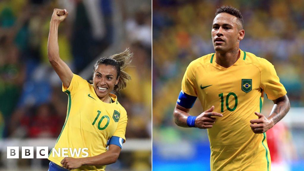 Brazil football stars Neymar and Marta in  battle of the jerseys  - BBC News f5bd8e733