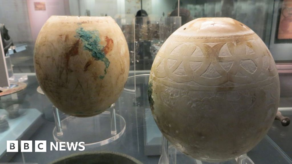 Mysteries of decorated ostrich eggs in British Museum revealed - BBC News