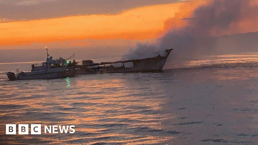 California boat fire: Major rescue under way as blaze continues