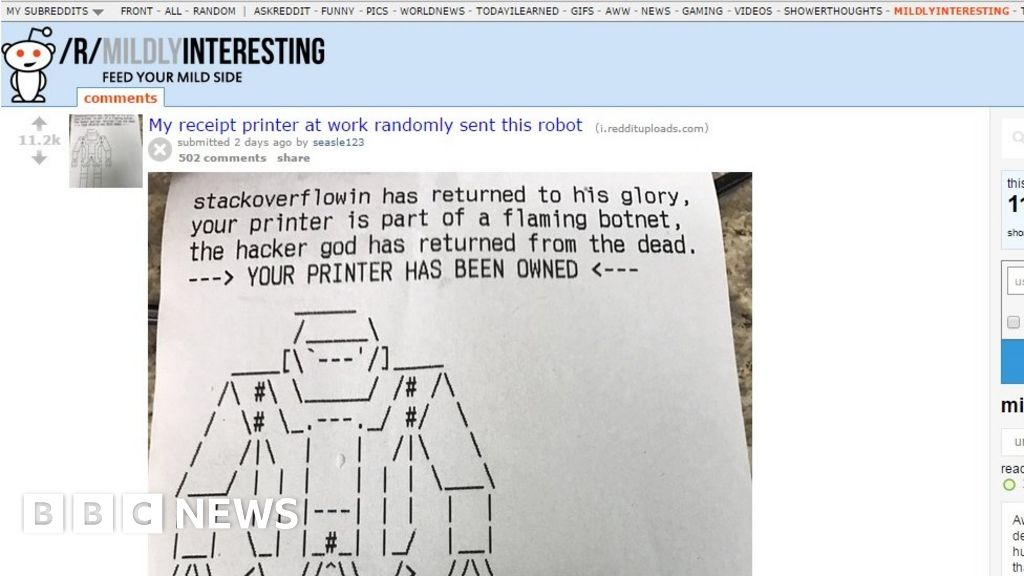 Hacker briefly hijacks insecure printers - BBC News