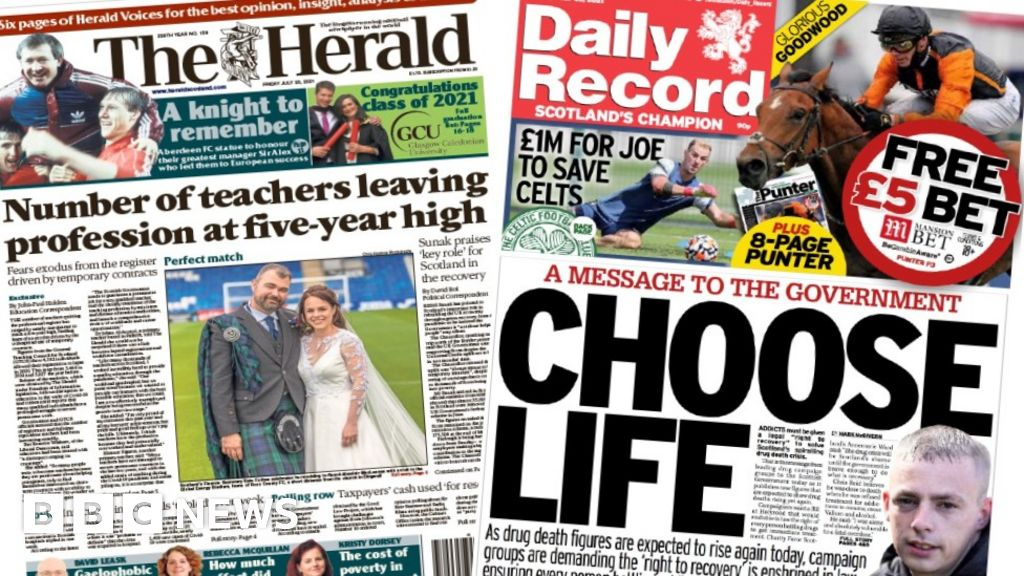 Scotland's papers: Teacher 'exodus' and call for new addicts' law