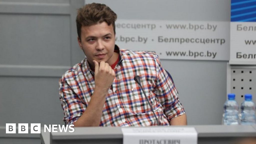 Belarus parades detained journalist Protasevich at media event