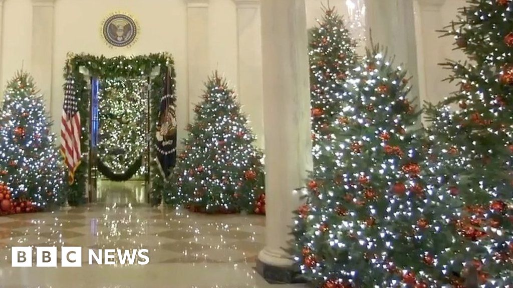 melania trump unveils white house christmas decorations bbc news