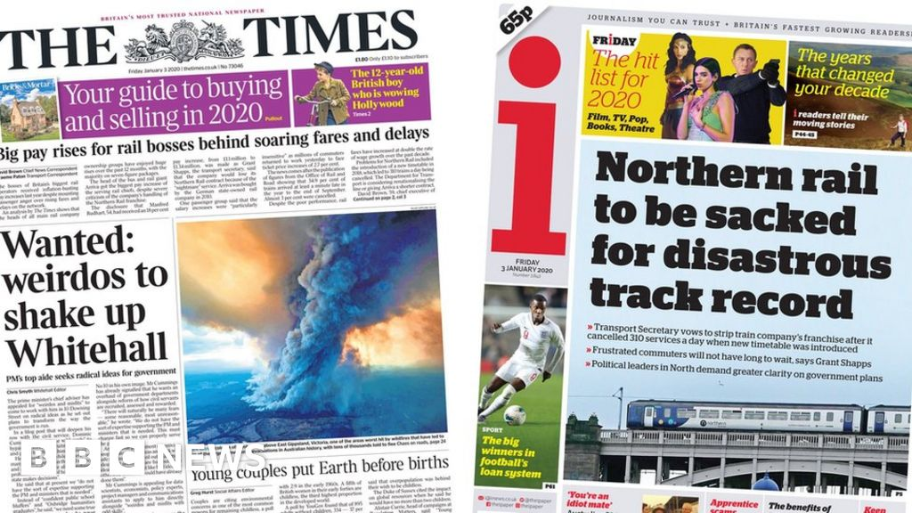 """Headlines: Whitehall  crazy  and Northern rail """"faces sack"""