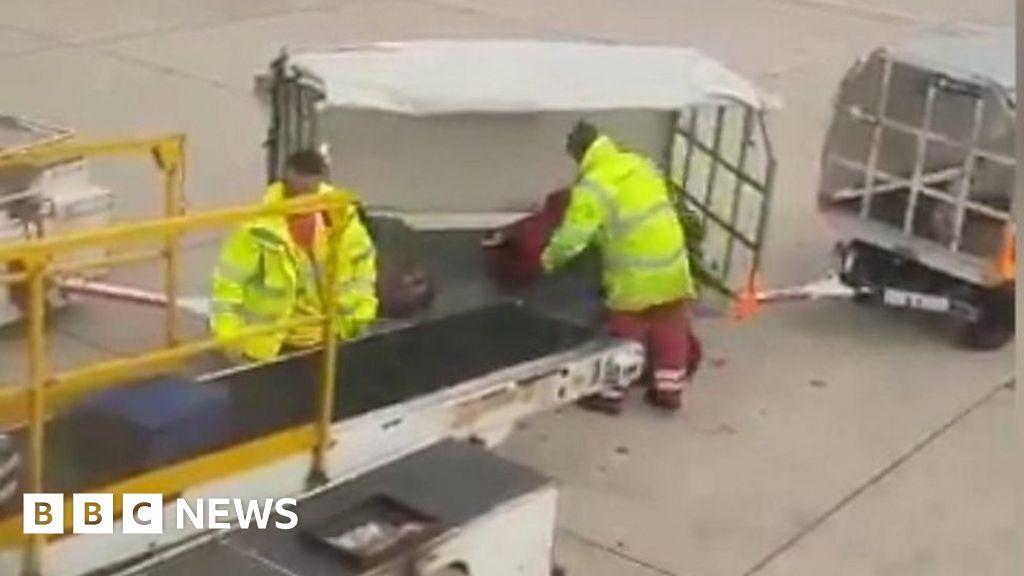 Baggage handler filmed lobbing luggage