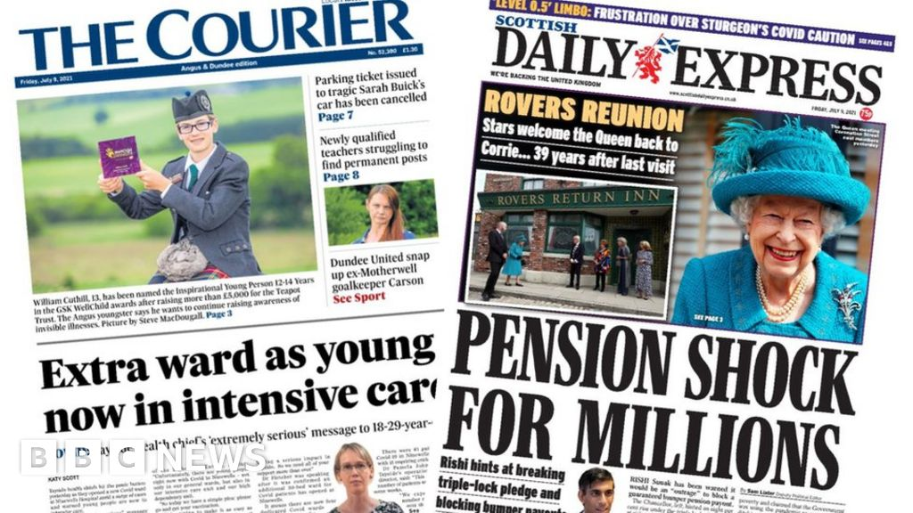 Scotland's papers: Covid young in intensive care and pension 'shock'