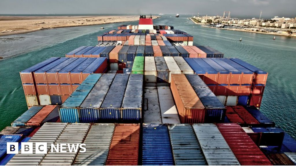 Egyptian Suez Canal blocked large container vessels