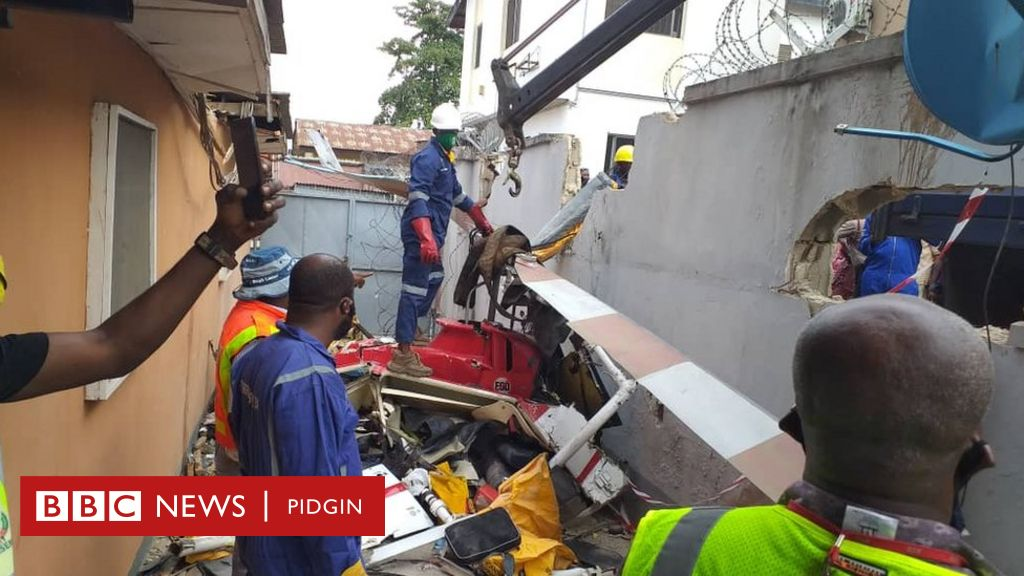Helicopter crash in Opebi Lagos: Today Quorum aviation accident inside  building for Salvation road Ikeja kill evribodi on board, aircraft black  box reveal - Eyewitness narrate shock of wetin happun - BBC