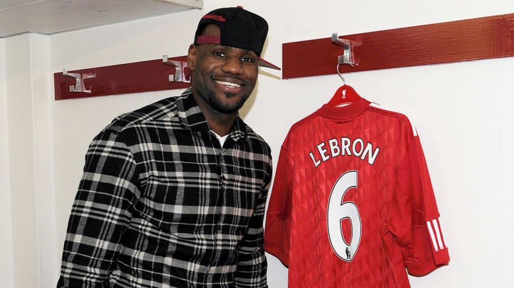 Lebron James with Liverpool shirt.