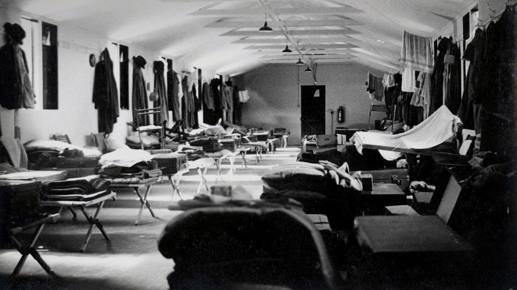 Men's sleeping hut at Hurstbourne Camp, Hampshire, during the Bank of England WW2 evacuation