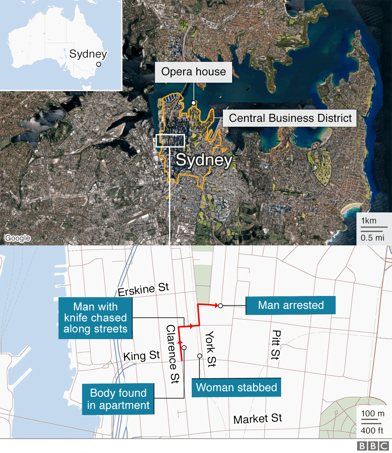 Map showing the area in Sydney where the attack took place and where a man was arrested