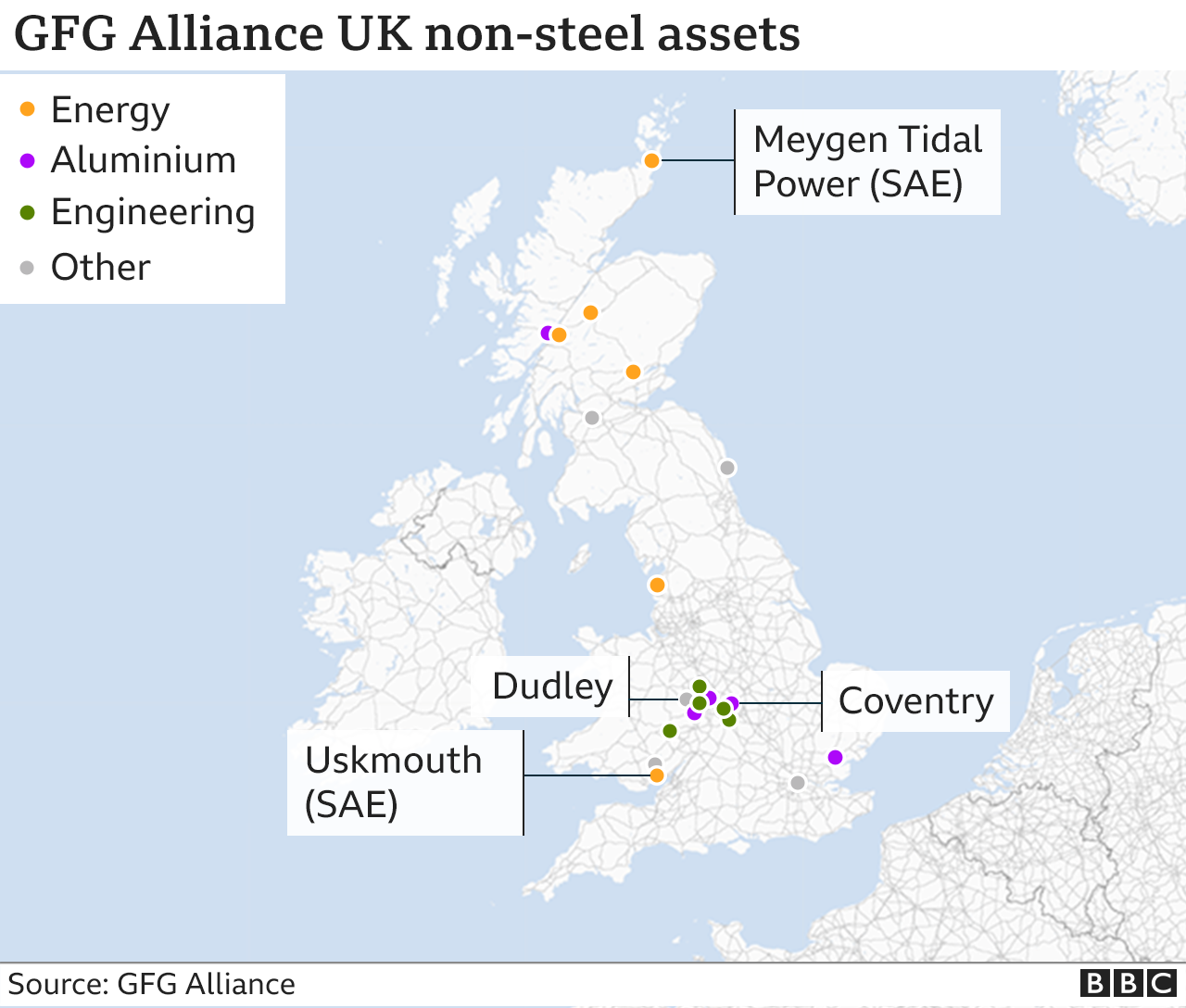 Map of UK showing position of Alliance facilities excluding steel