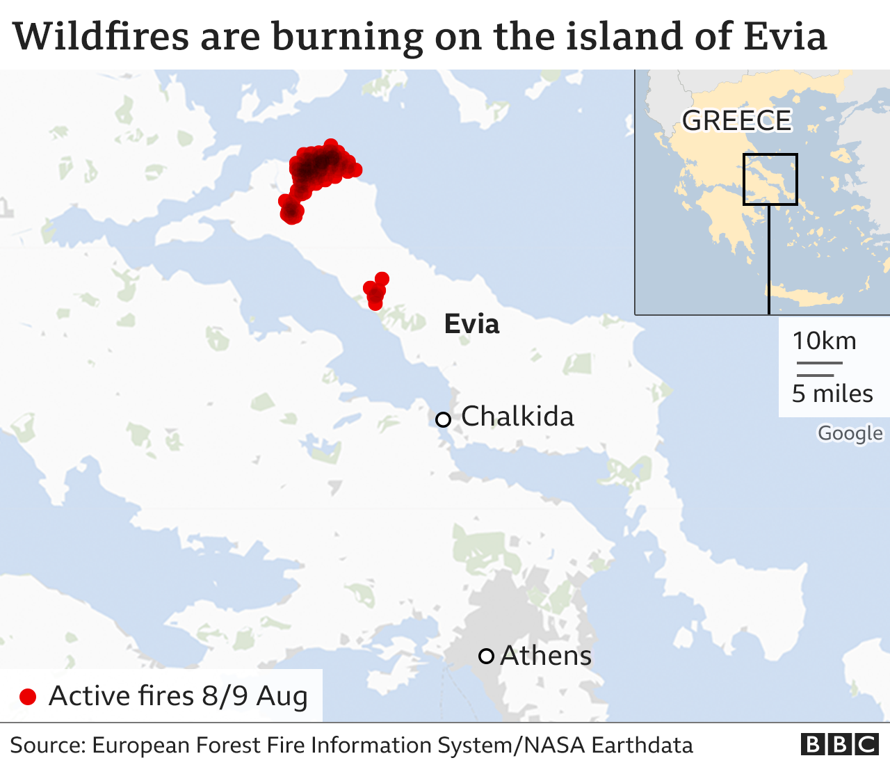 Map of Evia fires