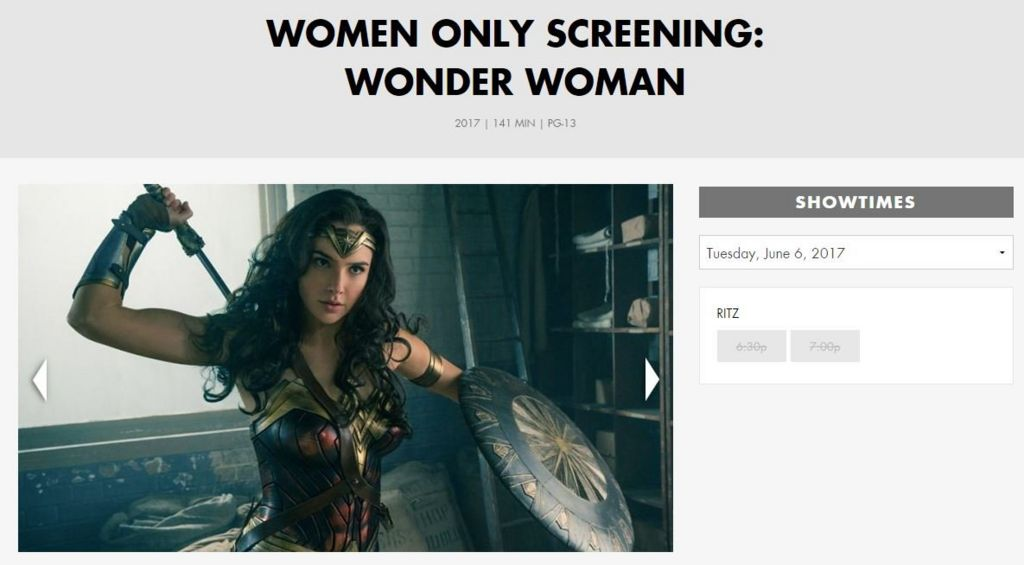 A webpage promoting the women-only screenings showed that both have sold out