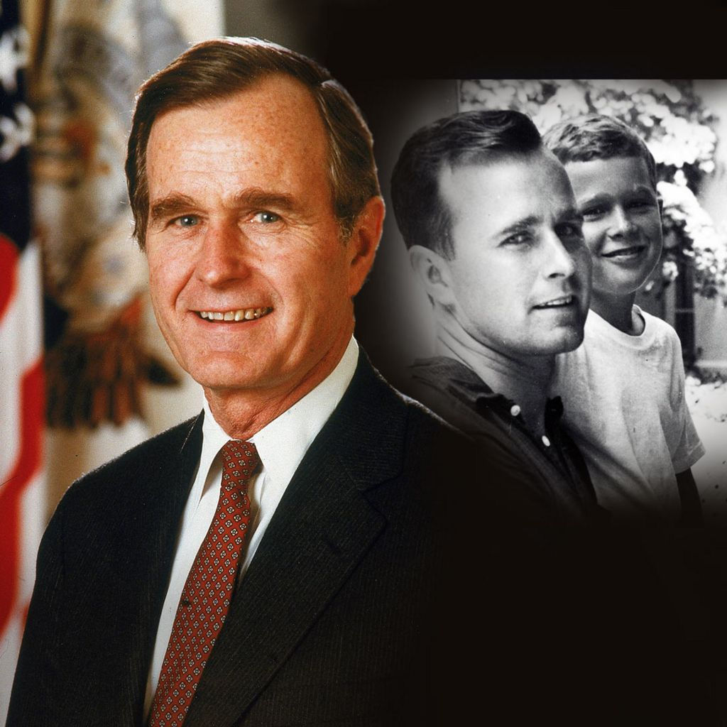 President George HW Bush - and with his son George in the 1950s