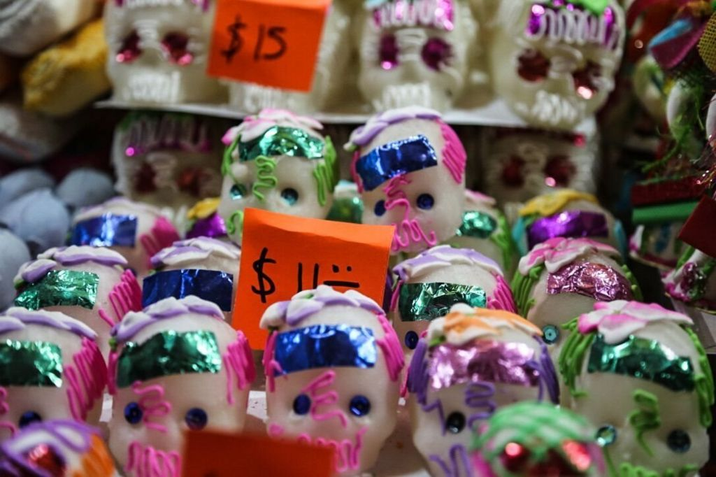 Sugar skulls being sold in the centre of town in Toluca