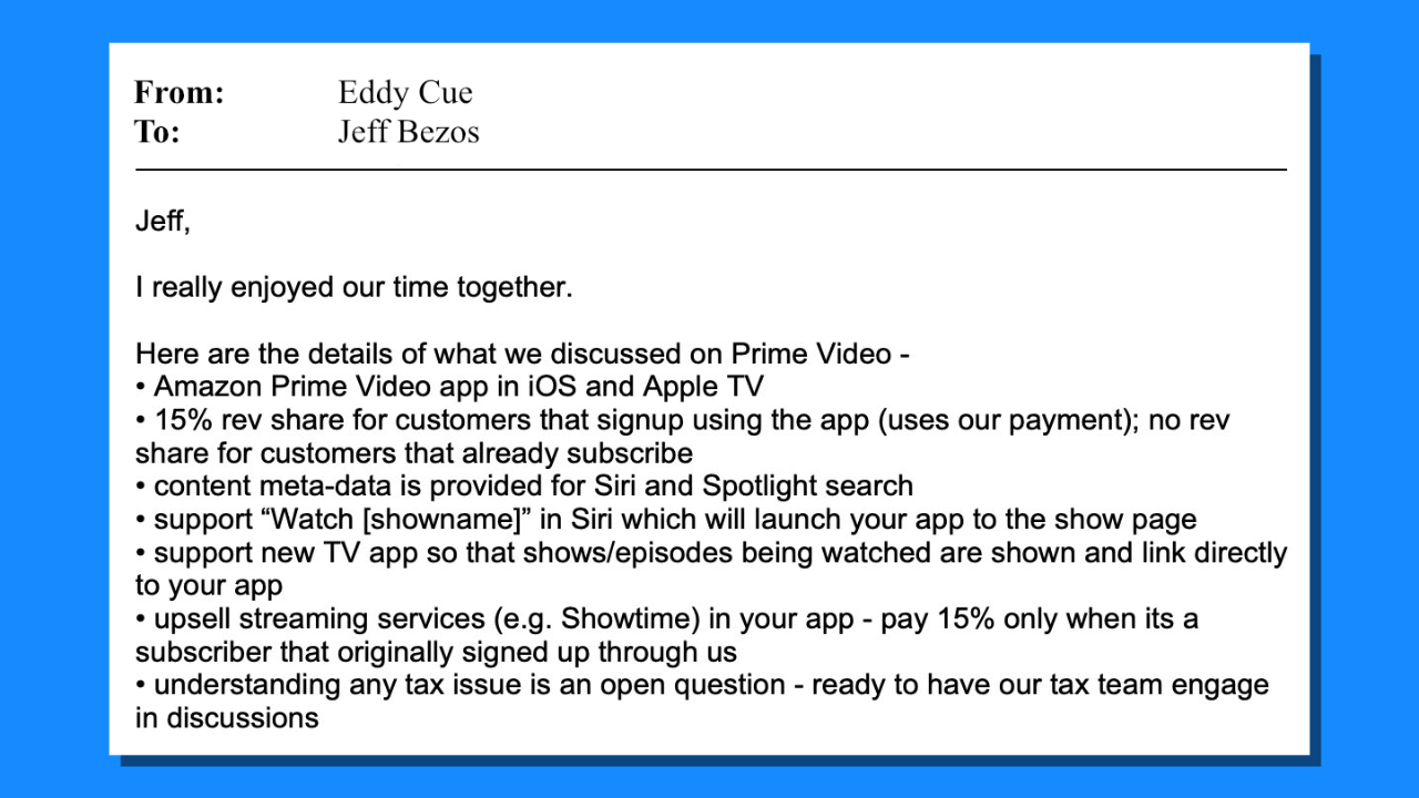 An email from Eddy Cue to Jeff Bezos