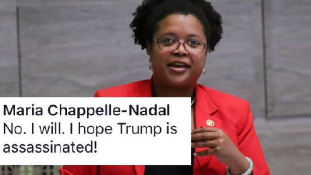 US lawmaker Chappelle-Nadal's Trump assassination post investigated - BBC News