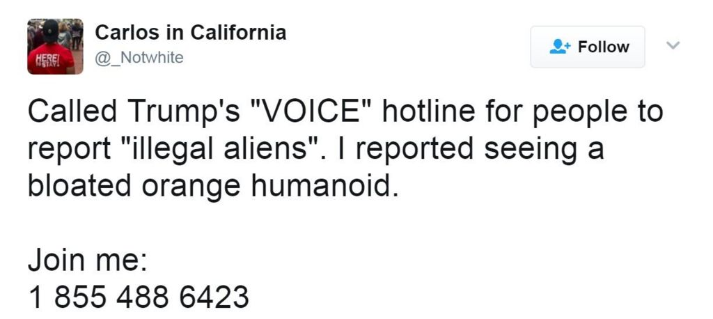 "Tweet reads: Called Trump's ""VOICE"" hotline for people to report ""illegal aliens"". I reported seeing a bloated orange humanoid."