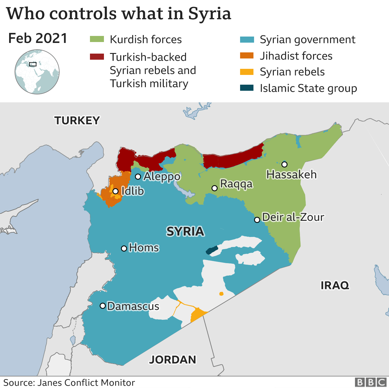 Map showing control of Syria (February 2021)