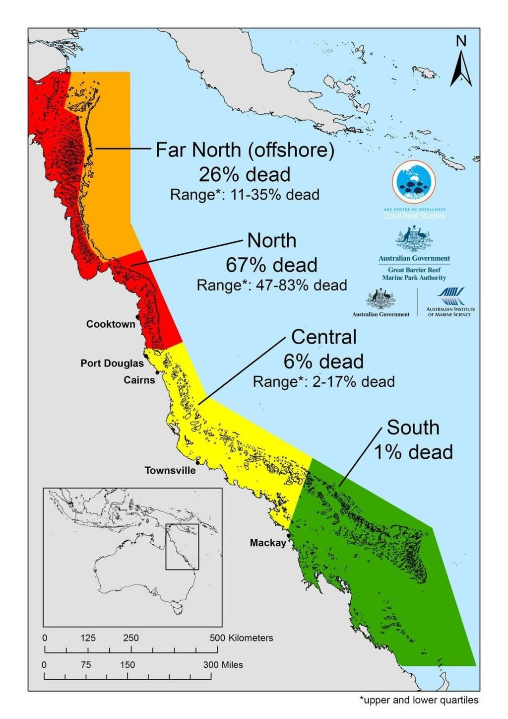 The map, detailing coral loss on Great Barrier Reef, shows how mortality varies enormously from north to south