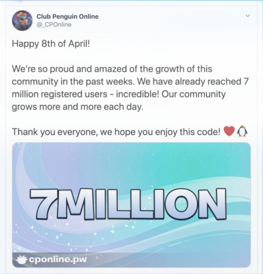 A tweet from Club Penguin Online about reaching 7m users