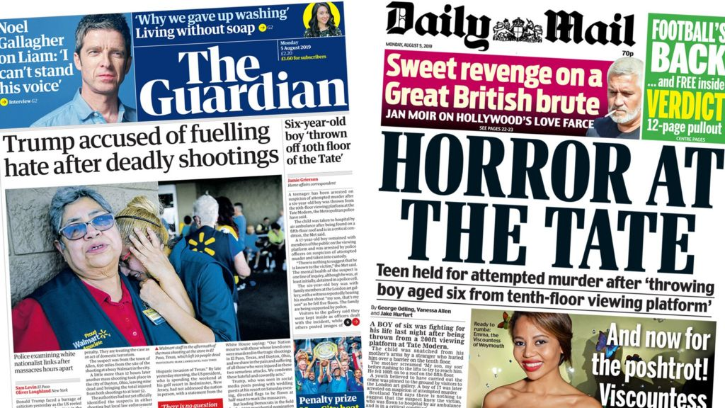 Newspaper headlines: 'American nightmare' and 'horror at the