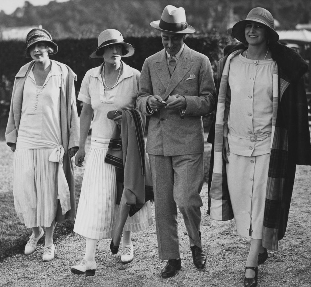 George Mountbatten with his wife Nadejda (centre left) and friends in Deauville, France, 1924
