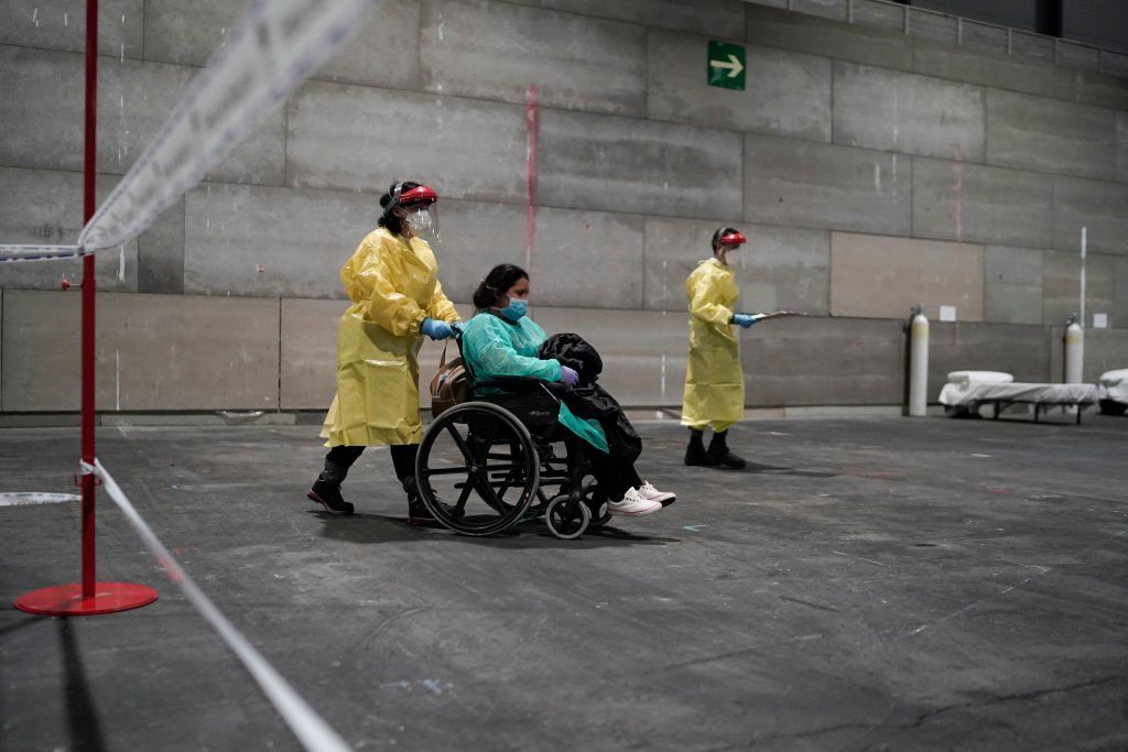 A hospital in the Ifema exhibition centre in Madrid began receiving patients last week