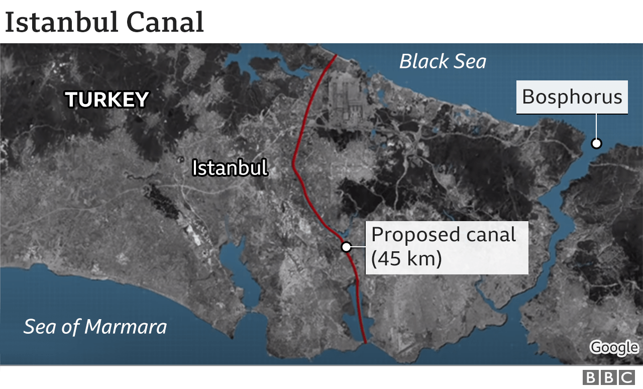 Proposed Istanbul Canal route
