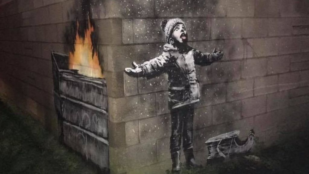 Banksy confirms Port Talbot 'Season's greetings' piece is his - BBC News