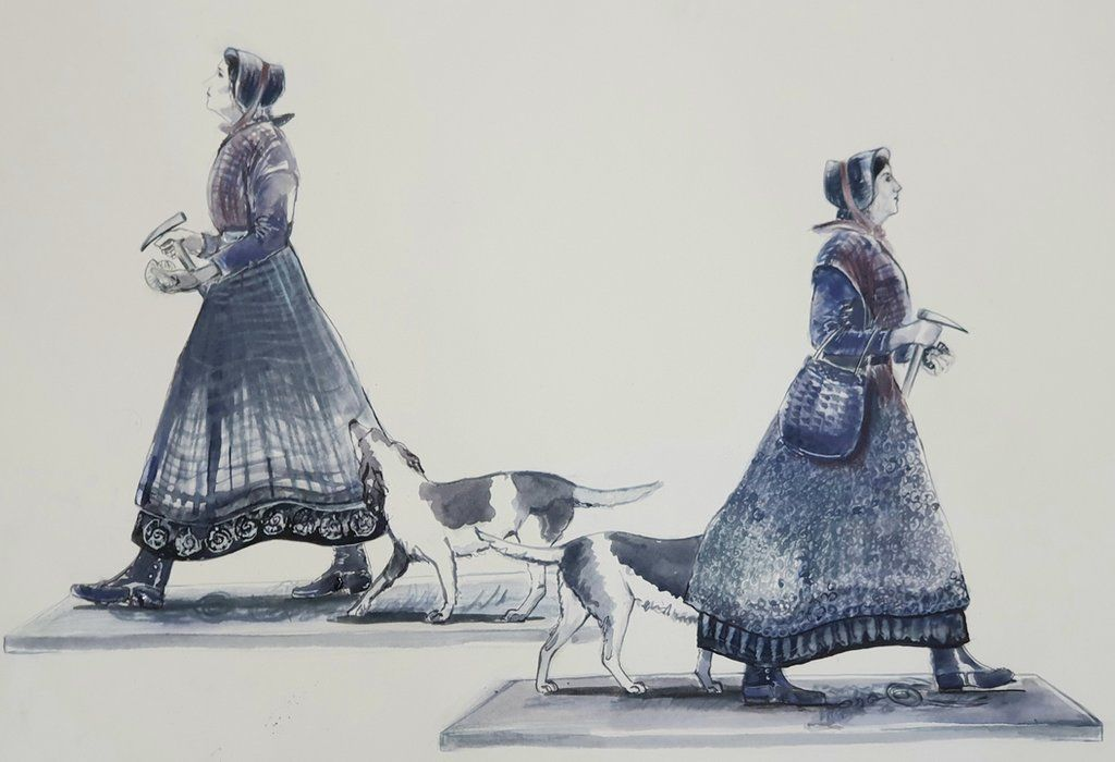 Preliminary sketches of Mary Anning statue