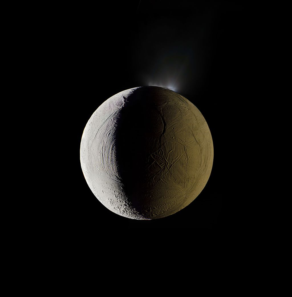 One of Saturn's moons, Enceladus, vents water into space, 2009