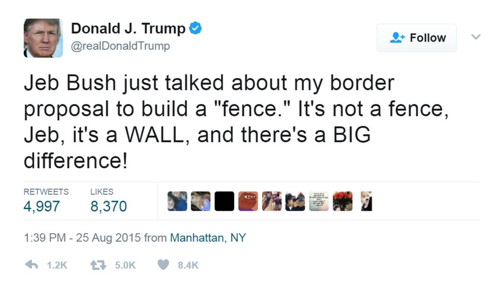 """Tweet from @realdonaldtrump: """"Jeb Bush just talked about my border proposal to build a """"fence."""" It's not a fence, Jeb, it's a WALL, and there's a BIG difference!"""""""
