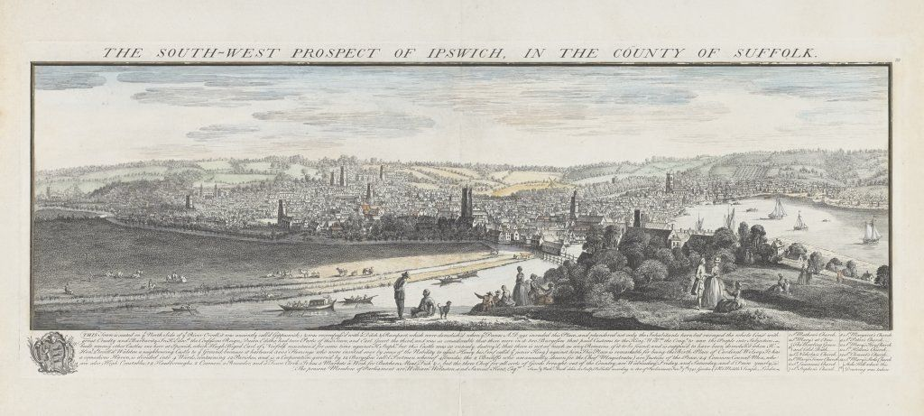 Samuel and Nathaniel Buck - South West Prospect of Ipswich (1741)