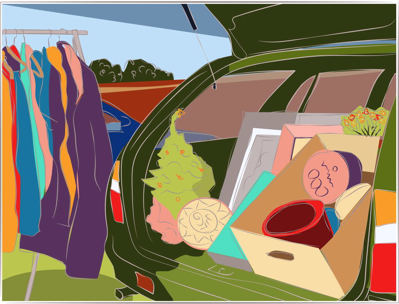 Illustration of a car boot sale
