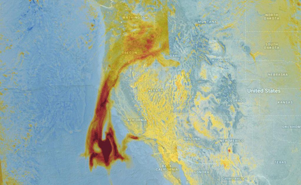 Sentinel tracks California smoke plume