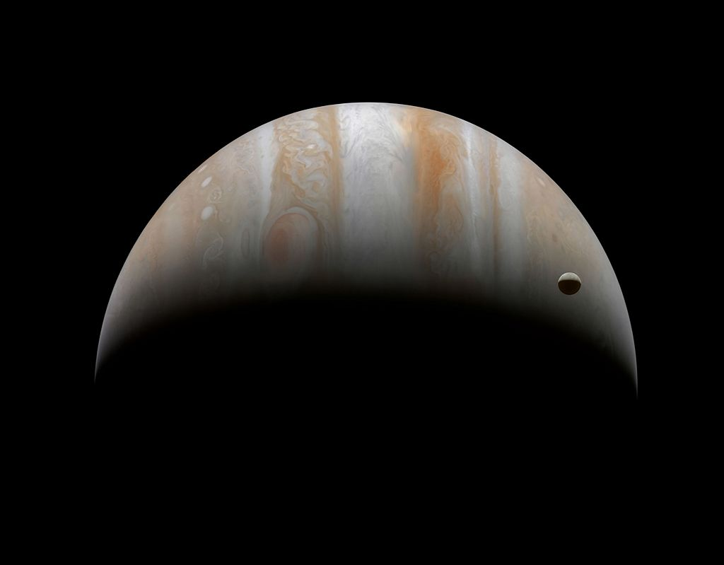 Crescent Jupiter and moon Ganymede, 2001