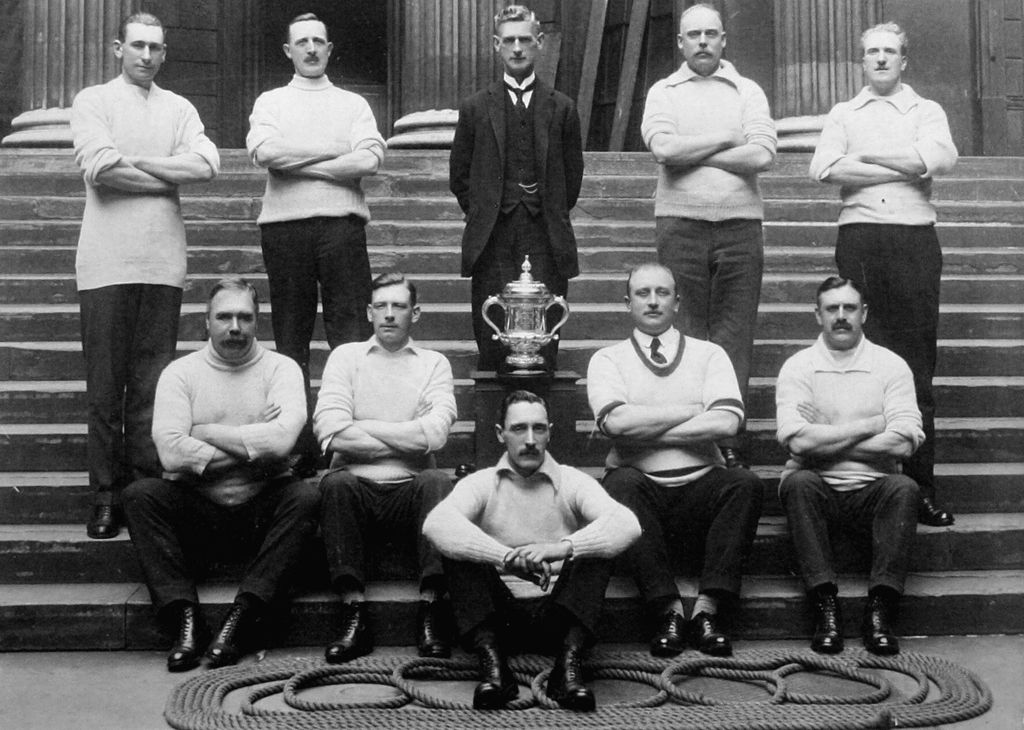 Bank of England messengers - St Christopher's Sports Club - winners of Forbank's Tug of War Cup 1921