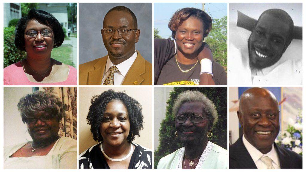 The victims, clockwise from the top left: Cynthia Hurd, Rev Clementa Pinckney, Sharonda Coleman-Singleton, Tywanza Sanders, Ethel Lance, Rev Depayne Middleton-Doctor, Susie Jackson, Rev Daniel Simmons Sr