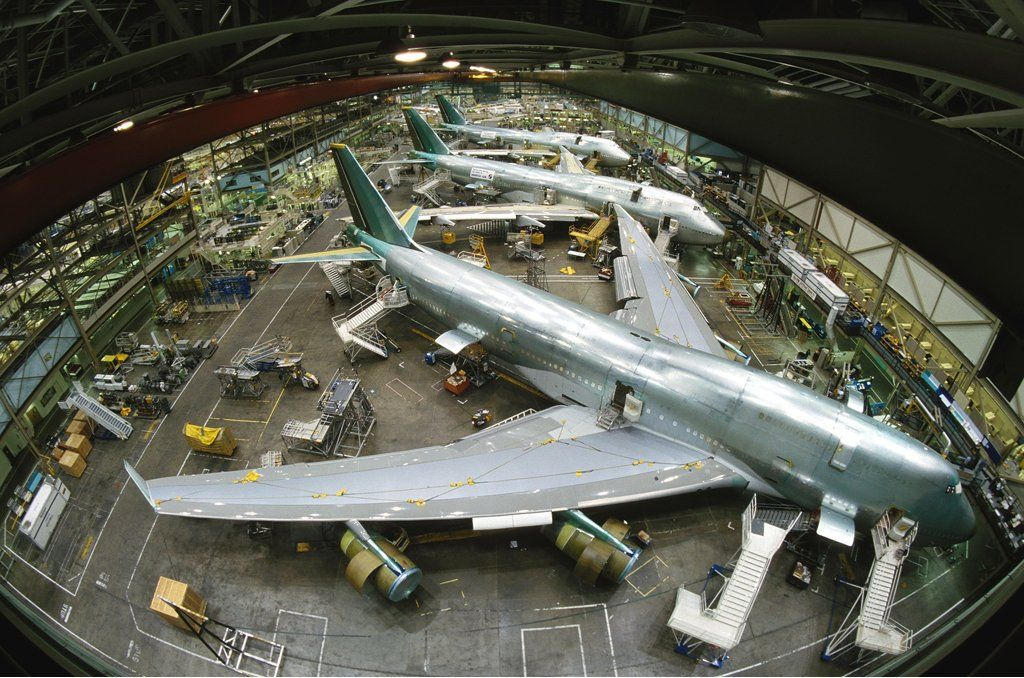 Illustration: Boeing In Seattle, United States In April, 1998 - Seattle Everett: B-747-400 Assembly Line. (Photo by Etienne DE MALGLAIVE/Gamma-Rapho via Getty Images)