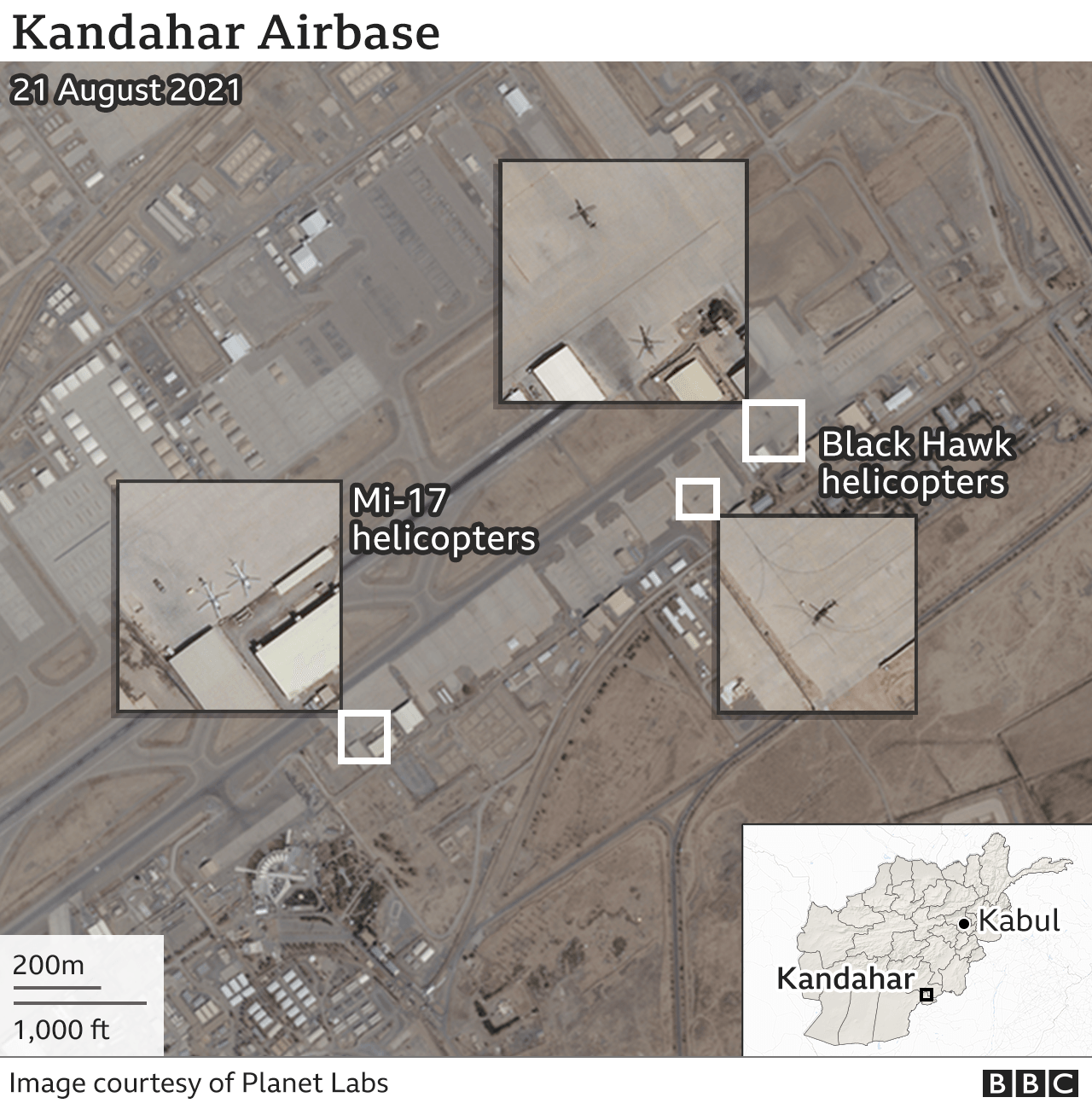 Satellite image of Kandahar Air Base with military aircraft on the ground. Updated 27 Aug.
