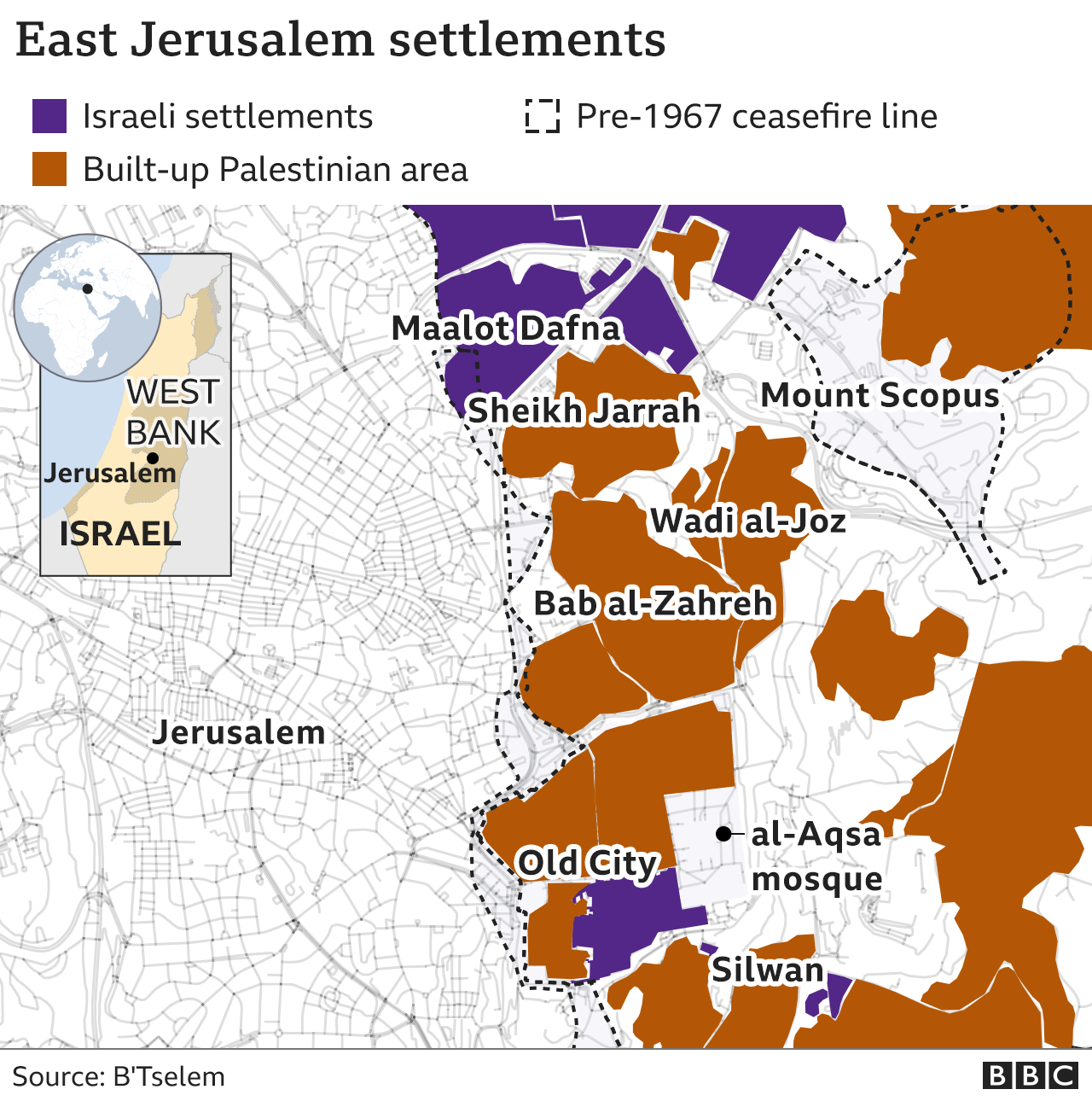 Map showing locations of Israeli settlements and Palestinian built-up areas in East Jerusalem, including Sheikh Jarrah