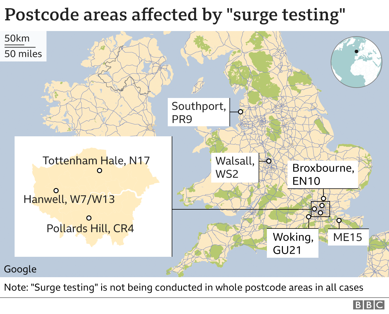 "Map showing postcodes areas affected by ""surge testing"""