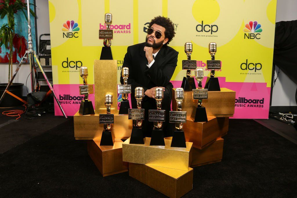 The Weeknd with his Billboard Music Awards