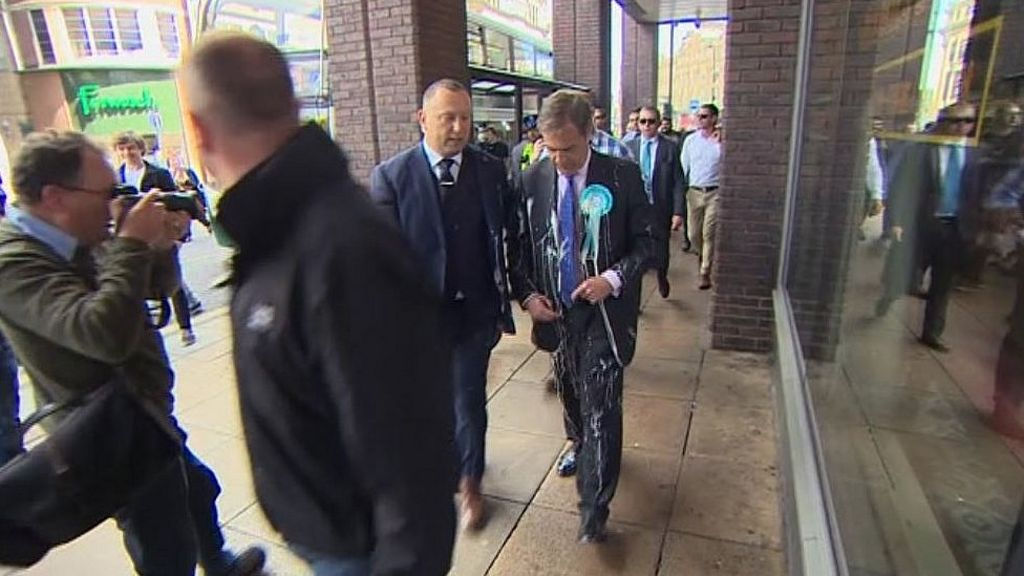 bbc.co.uk - Nigel Farage hit by milkshake during Newcastle walkabout