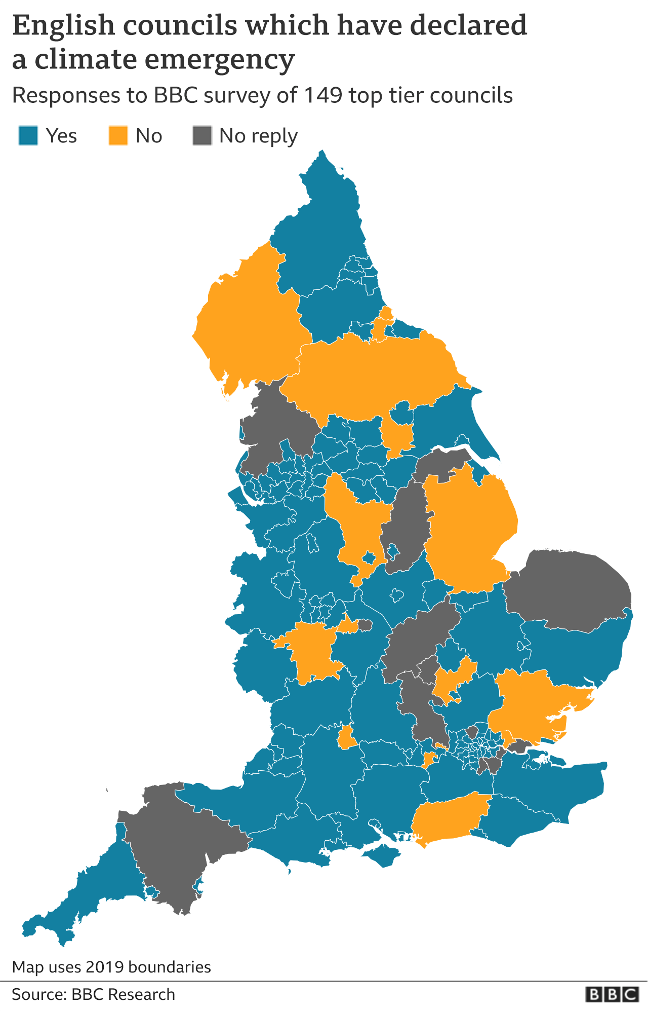 Map showing English councils which have declared a climate emergency