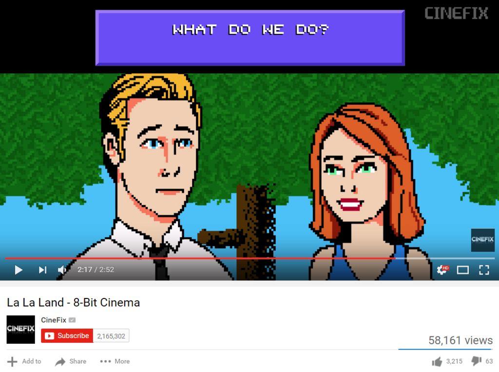 "Screengrab of the video ""La La Land - 8-bit cinema"" uploaded by the CineFix channel on YouTube"